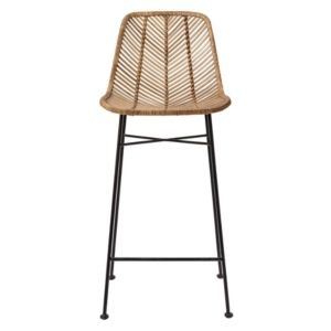 Rattan Bar Stools w  Metal Frame   Set of 2