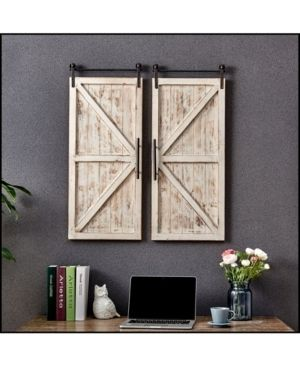 FirsTime   Co  Carriage Farmhouse Barn Door Wall Plaque Set  American Crafted  Aged White  Wood  14 x 2 x 34