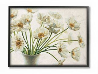 Stupell Industries  Peaceful Poppies White Florals  in Soft Ceramic Framed Wall Art
