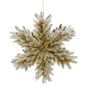 Snowy Dunhill Fir Double Sided Snowflake w  Battery Operated lED lights