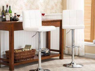 Porch   Den Galena Upholstered Chrome Adjustable Bar Stools   Set of 2