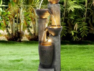 Outdoor Water Fountain Faux Stone Waterfall Features w  lights