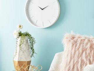 Modern Round White Wood Wall Clock with Natural Wood Detail 15in x 15in