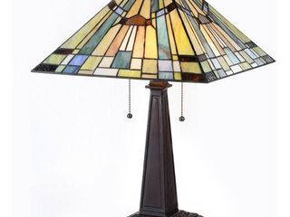 Chloe lighting KINSEY Tiffany Style Mission 2 light Table lamp 16 Inch Shade