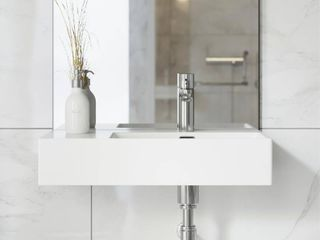 Swiss Madison St  Tropez 24in x 18in Ceramic Wall Hung Sink with Right Side Faucet Mount   7ft 9in x 9ft 9in