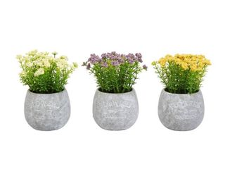 Home Pure Garden Faux Flowers 3 piece Assorted Natural lifelike Floral 6 25in
