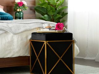 Gold Metal and Black Velvet Cube Storage Stool  16in x 20 87in Retail 338 49