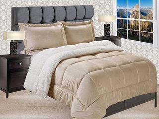 Elegant Comfort Reversible Sherpa Micro Suede 3 Piece Comforter Set   King Cal King