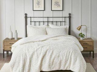 Madison Park Ivory Syracuse long Faux Fur Plush Comforter Set   King