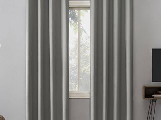 Set of 2   84in x 52in Oslo Theater Grade Extreme Blackout Grommet Top Curtain Panel Silver   Sun Zero