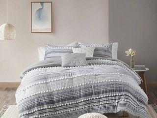 Corey King California King 5pc Cotton Comforter Set Gray