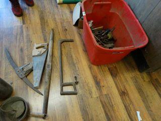 White mountain ice cream freezer  old tools  saws