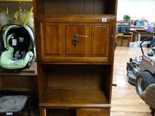 Wood bookshelf w  drop down desk