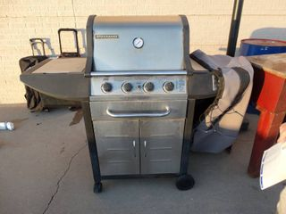 Brinkman pro series stainless steel propane grill w  cooler   side burner  Includes cover