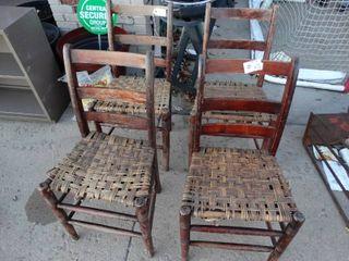 4 vintage wood chairs
