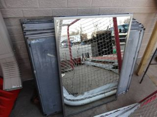 lARGE lot of metal frame commercial bathroom mirrors