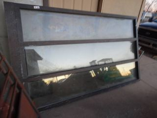 Commercial 3 pane glass window w  metal frame