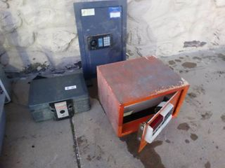 3 various safes  1 wall safe locked close unsure of contents