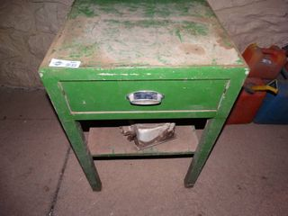Vintage metal stand w  drawer full of various tools   misc