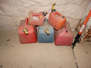 lot of various gas cans