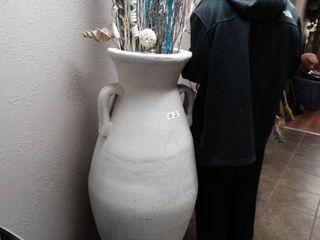 Very nice HUGE decorative flower vase pot w  decor