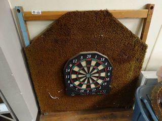 Dart board on frame