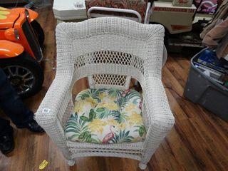 White wicker arm chair w  cushion