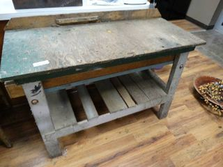 Wood work bench w  drawer   contents