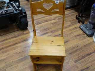 Wooden folding chair step stool