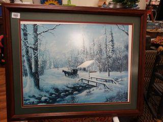 Framed winter scene wall art