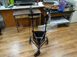 Folding 3 wheel walker w  brakes