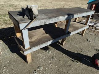 Wood work bench w  6  vise  8ft long x 2ft wide x 38  tall