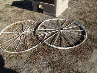 2 vintage metal wagon wheels