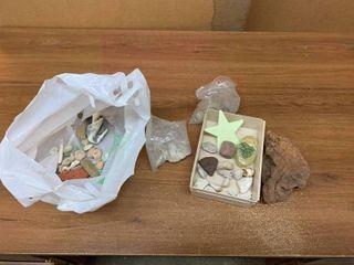 Box of small rocks and sea shells