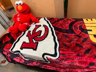 Chiefs blanket and Elmo