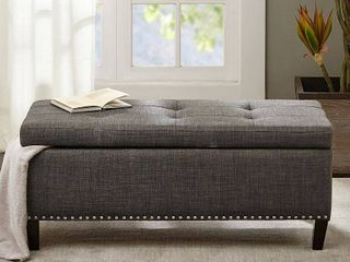 Madison Park Tessa Charcoal Tufted Top Storage Bench  Retail 121 99