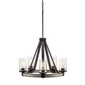 Kichler lighting Barrington 5 light Anvil Iron and Driftwood Plug In Standard Chandelier