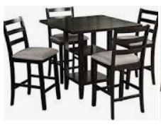 Set of 4 Merax Wooden Counter Height Dining Chairs Espresso Chairs Only
