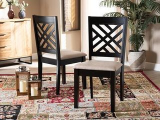 2pc Caron Upholstered Wood Dining Chair Set Sand Brown Espresso   Baxton Studio