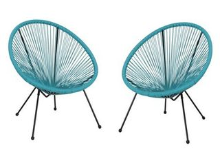 Anson Outdoor Hammock Weave Chair with Steel Frame  Set of 2  by Christopher Knight Home  Retail 169 99