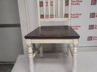 Set of 2 Farmhouse Dining Chair  White and Brown