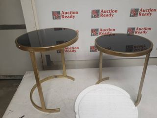 Black and Gold Nesting Coffee Tables Glass Top  Set of 2