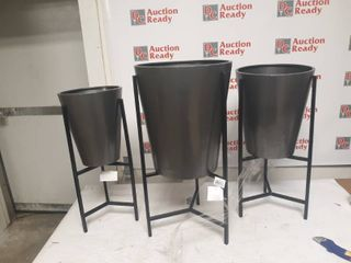 Set of 3 Modern Iron Conical Planters