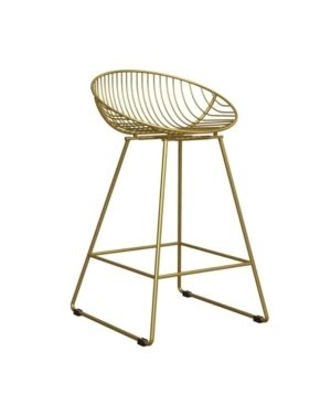 Ellis Wire Counter Height Barstool Gold   Cosmoliving by Cosmopolitan