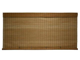 96 by 72 inch Imperial Matchstick Bamboo Cord Free Natural Rollup Blinds Fruitwood  Set of 3