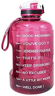 QuiFit Motivational Gallon Water Bottle   with Time Marker   Strainer   Handle 128oz leak Proof