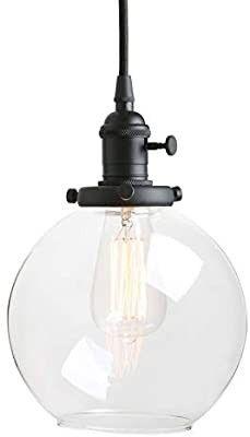 Pathson Black Pendant light with Globe Round Glass Shade