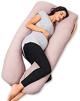 60 inches Premium Maternity Pillow for Pregnant Women  U Shape Full Body Pregnancy Pillow with Removable Zipper Cotton Cover Blue and Grey