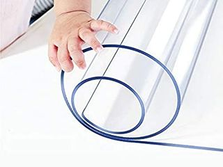 1 5mm Thick 24 x 36 Clear Vinyl Blotter Mat Table Protector Plastic Tablecloth liner Cover Wipeable Easy Clean Heat Resistant Protective Pad PVC Furniture Writing Desk Dining Coffee Kitchen Tabletop