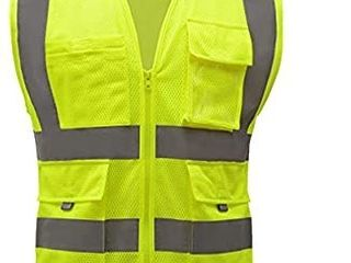 High Visibility Yellow Mesh Safety Vests reflective with pockets and zipper   hi vis clothing for men and women  4 each med  2 each xl Fluorescent yellow